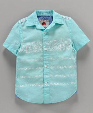 Under Fourteen Only Printed Half Sleeves Shirt - Aqua Blue