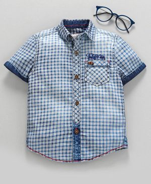 Under Fourteen Only Checked Half Sleeves Shirt - Blue