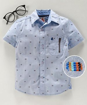Under Fourteen Only Printed Half Sleeves Shirt - Blue