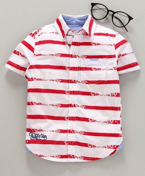 Under Fourteen Only Striped Half Sleeves Shirt - Red