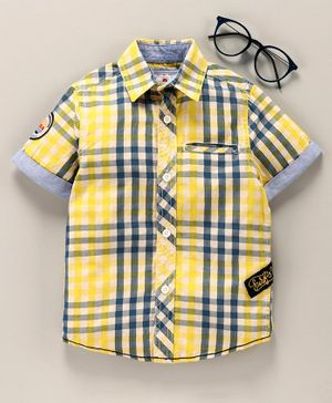 Under Fourteen Only Half Sleeves Checked Shirt - Yellow