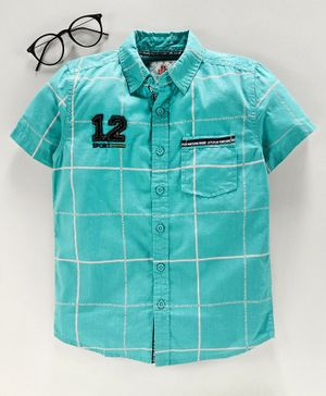 Under Fourteen Only Half Sleeves Checked Shirt - Blue