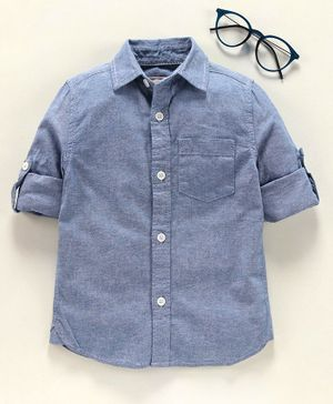 Under Fourteen Only Solid Full Sleeves Shirt - Blue
