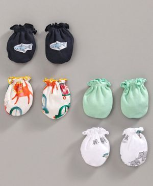Ben Benny Multi Printed Mittens Set of 4 Pairs - Green Black