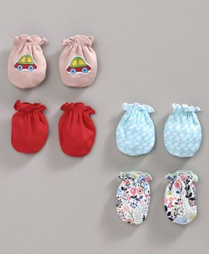 Ben Benny Multi Printed Mittens Set of 4 Pairs - Red Blue