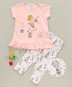 First Smile Half  Sleeves Top & Bottom Set Animal Patch  - Pink White