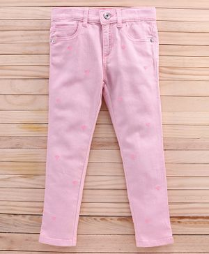 UCB Full Length Party Wear Jeans Heart Embroidered - Pink