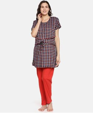 Goldstroms Checked Half Sleeves Maternity Night Suit - Black & Red