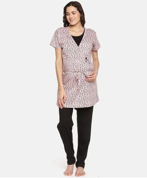 Goldstroms Printed Half Sleeves Maternity Night Suit - Pink & Black