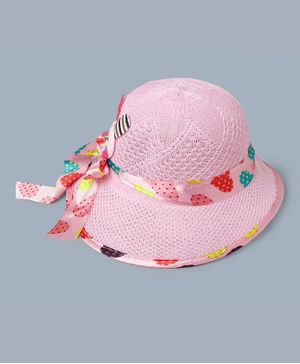 TMW Kids Heart Print Ribbon Bow Hat - Light Pink