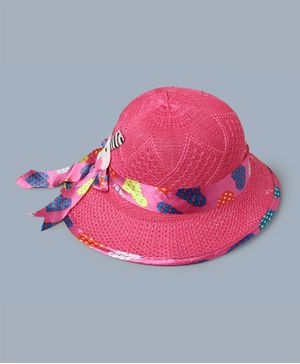 TMW Kids Heart Print Ribbon Bow Hat - Pink