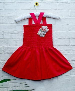 Mish Organic Sleeveless Flower Decor Organic Cotton Dress - Red