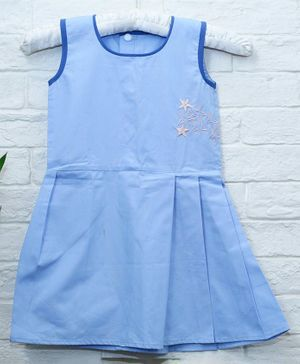 Mish Organic Star Embroidery Detailing Sleeveless Organic Cotton Dress - Sky Blue