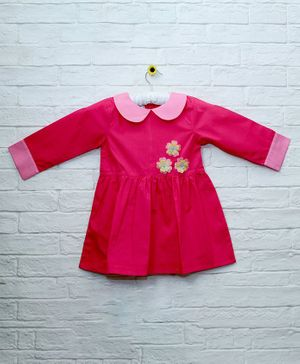 Mish Organic Small Flower Patch Detailing Full Sleeves Organic Cotton Dress - Pink