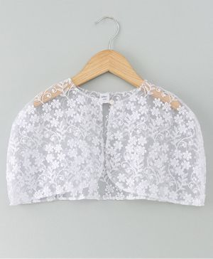 Mish Organic Flower Embroidery Detailing Half Sleeves Cape - White