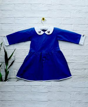 Mish Organic Flower Applique Organic Cotton Full Sleeves Dress - Blue