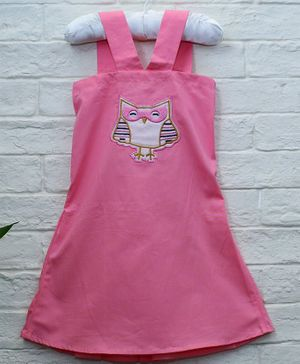 Mish Organic Owl Patch Sleeveless Organic Cotton Dress - Pink