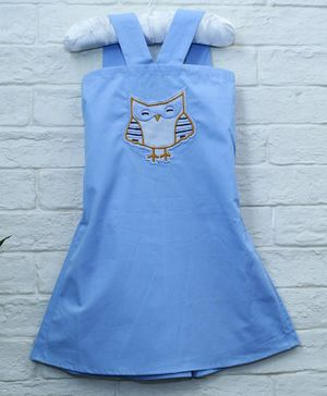 Mish Organic Owl Patch Organic Cotton Sleeveless Dress - Blue