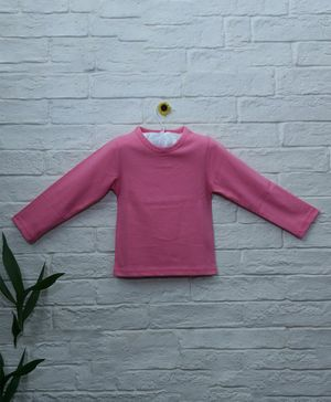 Mish Organic Solid Full Sleeves Organic Cotton T-Shirt - Pink