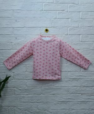 Mish Organic Butterfly Printed Organic Cotton Full Sleeves T-Shirt - Pink