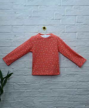 Mish Organic Polka Dot Printed Organic Cotton Full Sleeves T-Shirt - Orange