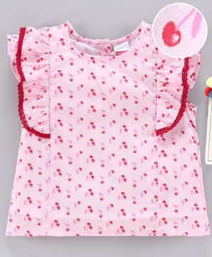 Babyhug Flutter Sleeves Top Cherry Print - Pink