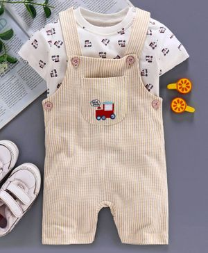 ToffyHouse Dungaree Style Romper with Half Sleeves  Inner Tee - Cream White