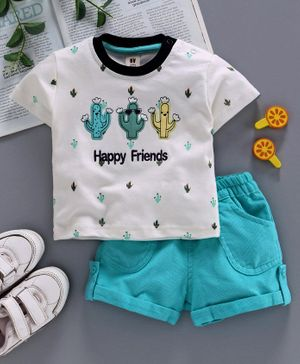 ToffyHouse Half Sleeves Tee & Corduroy Shorts Happy Friends Embroidery - White Blue