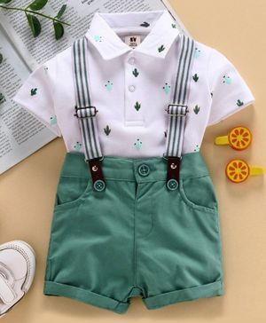 ToffyHouse Half Sleeves Tee & Shorts with Suspenders Cactus Print - White Green