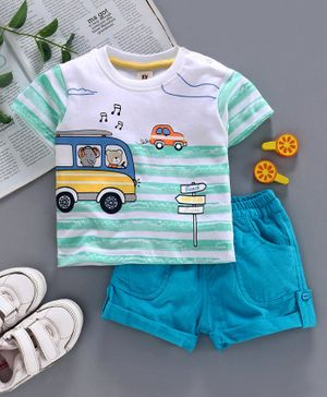 ToffyHouse Half Sleeves Tee & Corduroy Shorts Vehicle Print - White Sea Green Blue