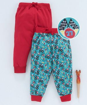 Game Begins Full Length Lounge Pant Vehicle Print - Red Blue