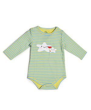 Go Bees Organic Cotton Striped Starfish Print Full Sleeves Romper - Green