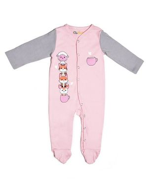 Go Bees Organic Cotton Full Sleeves Cat Print Footed Romper - Pink