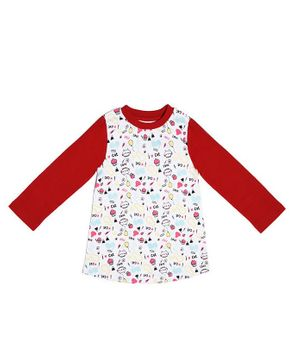 Go Bees Organic Cotton Full Sleeves Kitty & Cupcake Printed Dress - White