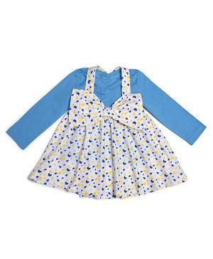 Go Bees Organic Cotton Full Sleeves Top With Butterfly Print Bow Decor Skirt - Blue White