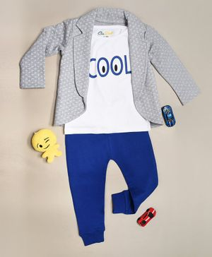 Go Bees Organic Cotton Full Sleeves Triangle Print Jacket & Tee Set With Pants - Grey Blue