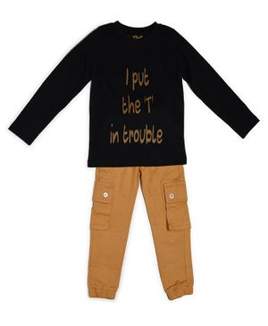 Go Bees Organic Cotton Full Sleeves Text Print Tee With Pants - Black Brown