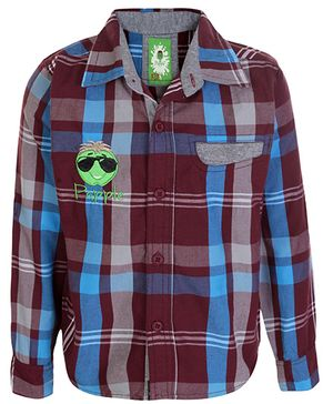 Papple Full Sleeves Checks Shirt - Red Blue