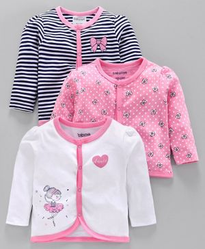 Babyoye Full Sleeves Cotton Vests Bow & Ballerina Print - White Pink