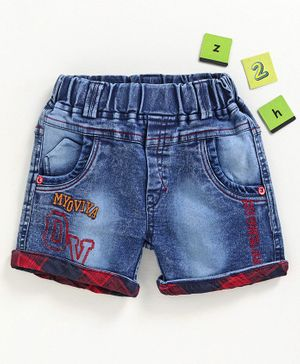 Chicklets Alphabets Embroidered Shorts - Blue & Red