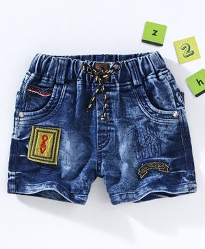 Chicklets Patch Detailed Shorts - Blue & Yellow