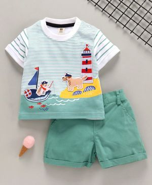 ToffyHouse Half Sleeves T-Shirt & Shorts Dog Patch - Green