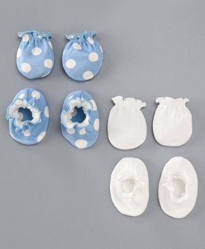 Ben Benny Mittens & Booties Pack of 2 - White Blue