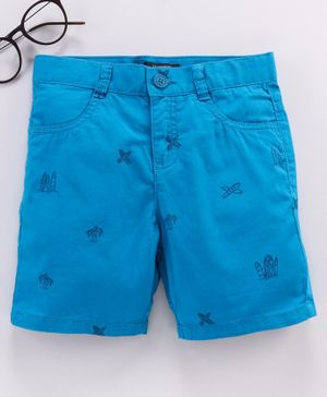 LC Waikiki Palm Tree Print Shorts - Turquoise