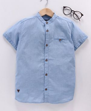 LC Waikiki Solid Half Sleeves Shirt - Blue