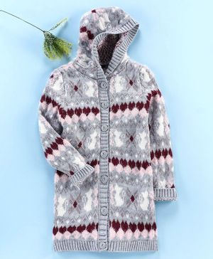 LC Waikiki Full Sleeves Hooded Abstract Pattern Sweater - Grey