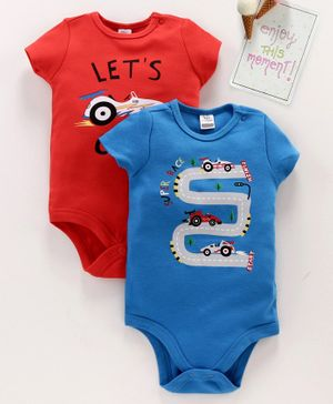 LC Waikiki Pack Of 2 Short Sleeves Racing Car Printed Onesie - Blue & Red