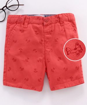 LC Waikiki Airplane Print Shorts - Red