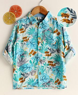 LC Waikiki Full Sleeves Tropical Print Shirt - Light Blue