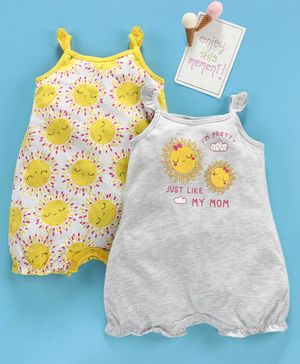 LC Waikiki Sun Print Sleeveless Pack Of 2 Rompers - Grey & Off White